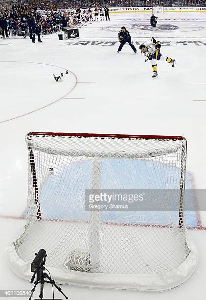 Shea Weber of the Nashville Predators and Team Toews shoots the puck 108.5 MPH during the AMP NHL Hardest Shot event of the 2015 Honda NHL All-Star...