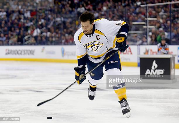 Shea Weber of the Nashville Predators and Team Toews takes a shot during the AMP NHL Hardest Shot event of the 2015 Honda NHL AllStar Skills...