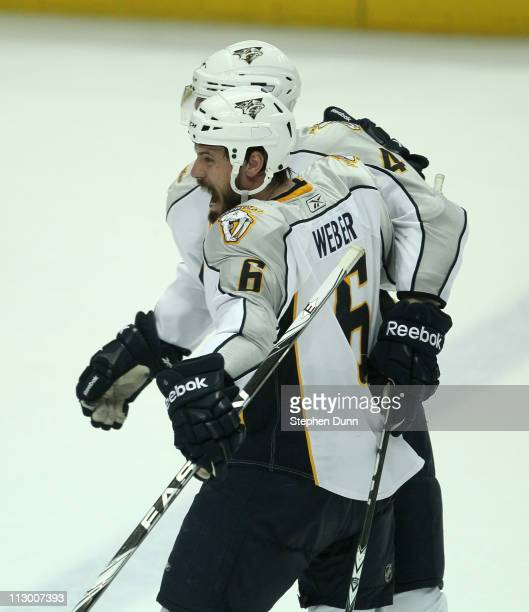Shea Weber of the Nashville Predators celebrates his game tying goal with 36 seconds left in regulation against the Anaheim Ducks in Game Five of the...