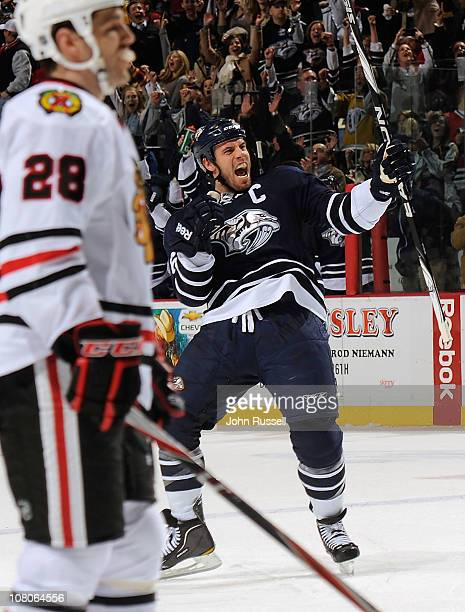 Shea Weber of the Nashville Predators celebrates his game-tying goal against the Chicago Blackhawks during an NHL game on January 15, 2011 at...