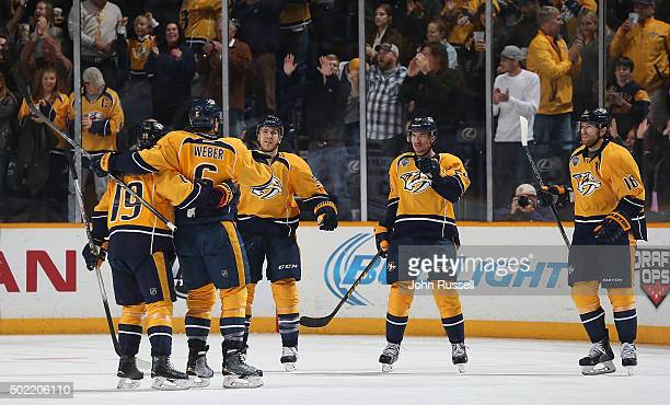 Shea Weber of the Nashville Predators celebrates his goal with Calle Jarnkrok Colin Wilson Roman Josi and James Neal against the Montreal Canadiens...
