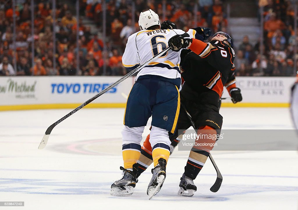 Shea Weber #6 of the Nashville Predators checks Corey Perry #10 of the Anaheim Ducks in the neutral zone in the first period of Game Five of the Western Conference First Round during the 2016 NHL Stanley Cup Playoffs at Honda Center on April 23, 2016 in Anaheim, California. The Ducks defeated the Predators 5-2.