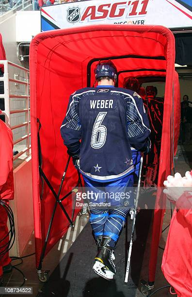 Shea Weber of the Nashville Predators for team Lidstrom walks off the ice between periods during 58th NHL AllStar Game at the RBC Center on January...