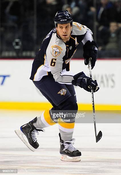 Shea Weber of the Nashville Predators skates against the Calgary Flames on January 5, 2010 at the Sommet Center in Nashville, Tennessee.