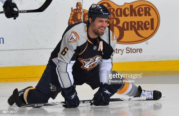Shea Weber of the Nashville Predators stretches prior to a game against the Chicago Blackhawks in Game Six of the Western Conference Quarterfinals...