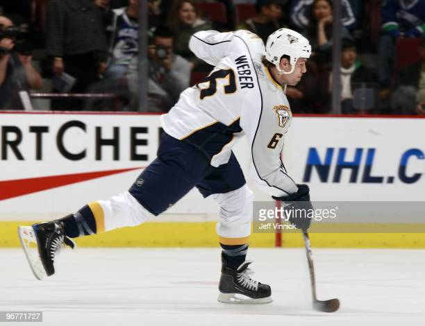 Shea Weber of the Nashville Predators takes a slap shot during their game against the Vancouver Canucks at General Motors Place on January 11 2010 in...