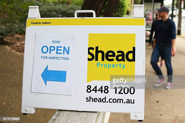 A Shead Property open house sign stands on display outside a house in the suburb of Frenchs Forest in Sydney Australia on Saturday Oct 18 2014...