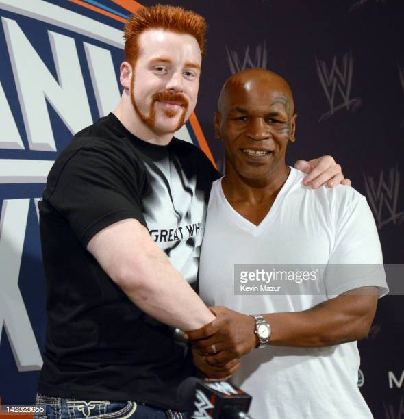 Sheamus and Mike Tyson attend WrestleMania XXVlll at Sun Life Stadium on April 1 2012 in Miami Gardens Florida