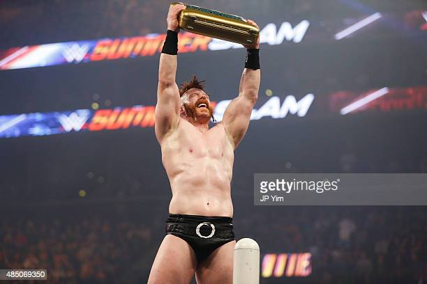 Sheamus celebrates his victory at the WWE SummerSlam 2015 at Barclays Center of Brooklyn on August 23 2015 in New York City