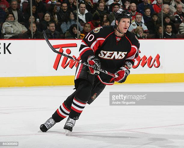 Shean Donovan of the Ottawa Senators skates against the Florida Panthers at Scotiabank Place on December 8 2008 in Ottawa Ontario Canada
