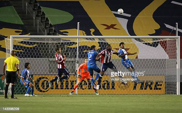Sheanon Williams of Philadelphia Union heads clear of the goal box during the MLS match against Chivas USA at The Home Depot Center on April 21 2012...
