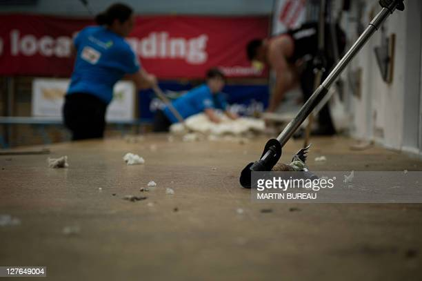 A shearer remains on the stage during the 50th New Zealand International Merino Shearing championships on September 29 2011 at the Molyneux Park...