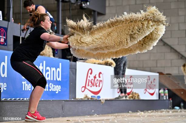 Shearers compete in the senior sheep shearers at Royal Highland Show at Ingliston on July 19, 2021 in Edinburgh,Scotland. Thousands of people have...