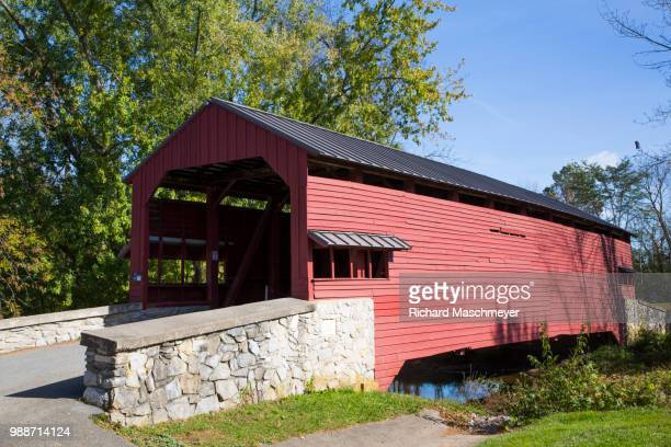 shearer's covered bridge, built 1847, lancaster county, pennsylvania, united states of america, north america - lancaster county pennsylvania stock pictures, royalty-free photos & images
