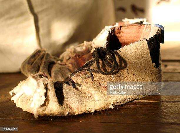 A shearer's moccasin sits on the floor at the start of a day of spring shearing at Cherry Hill Pastoral Company property on October 19 2009 in Uralla...