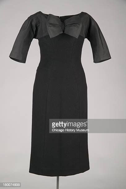 Sheath dress, 1955 . SIlk faille, cashmere by Charles James; worn by donor, Mrs Howard Linn, nee Lucy Mccormick Blair.
