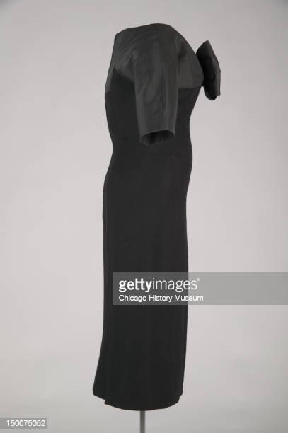 Sheath dress 1955 SIlk faille cashmere by Charles James worn by donor Mrs Howard Linn nee Lucy Mccormick Blair