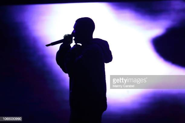 Sheck Wes performs on stage during the ASTROWORLD Wish You Were Here Tour at Prudential Center on November 24 2018 in Newark New Jersey