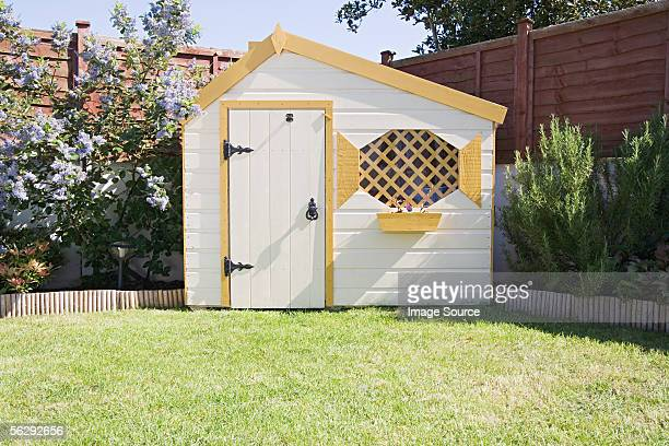 shed in a garden - shed stock pictures, royalty-free photos & images