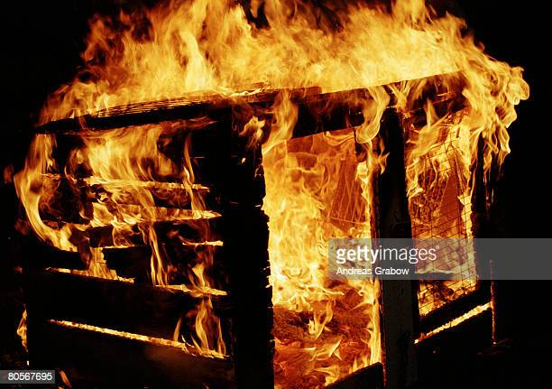 A shed on fire