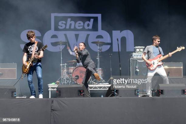 Shed Seven perform on stage during TRNSMT Festival Day 2 at Glasgow Green on June 30 2018 in Glasgow Scotland
