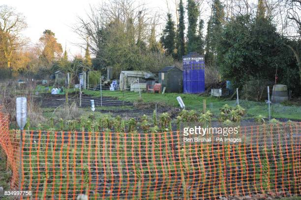 A shed shaped like a TARDIS in an allotment on Quakers Walk allotments Devizes Wiltshire belonging to Philippa Morgan and Declan McSweeney