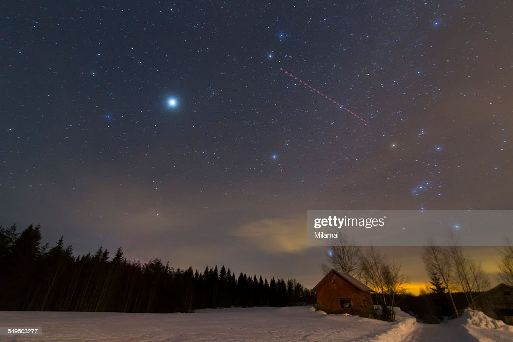 Shed under the stars : Stock Photo