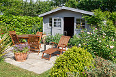 Shed with terrace and garden furniture