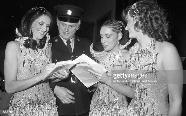 Sheeba Ireland who finished fifth in the Eurovision Song Contest signing autographs for Sgt Mick Dunphy Donnybrook the girls are from left Frances...