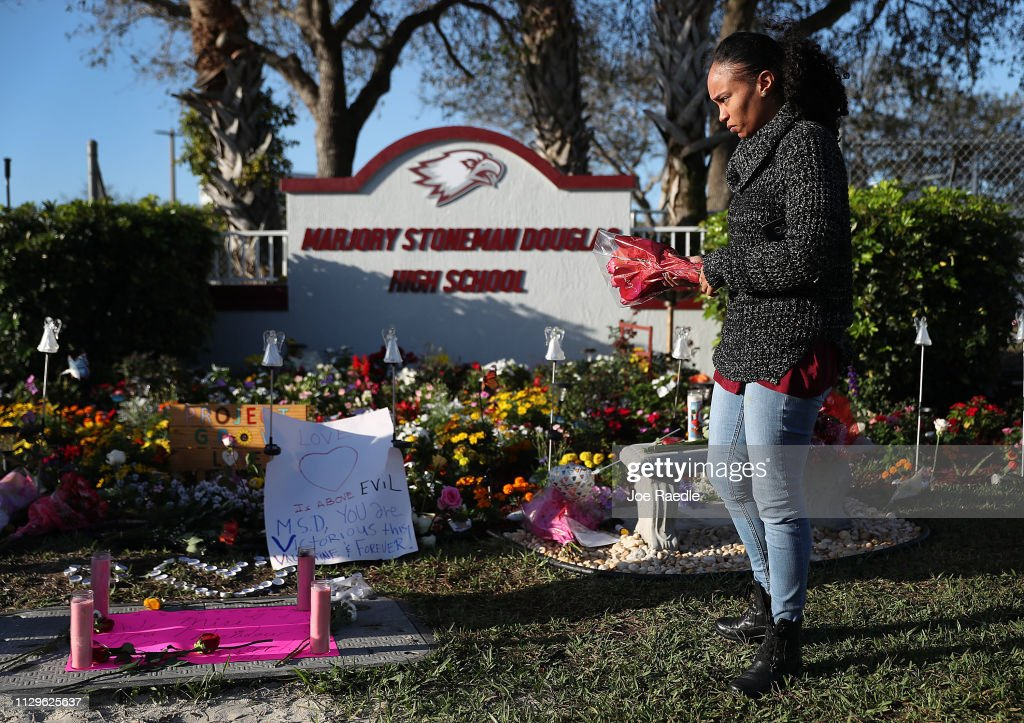 One Year Anniversary Of Deadly Shooting At Marjory Stoneman Douglas High School In Parkland, Florida : News Photo
