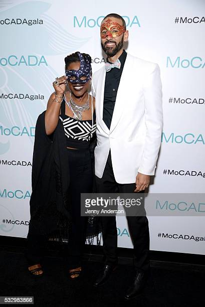 Sheena Rose and Executive Director of MoCADA James Bartlett attend MoCADA 2nd Annual Masquerade Ball at Brooklyn Academy Of Music on May 19 2016 in...