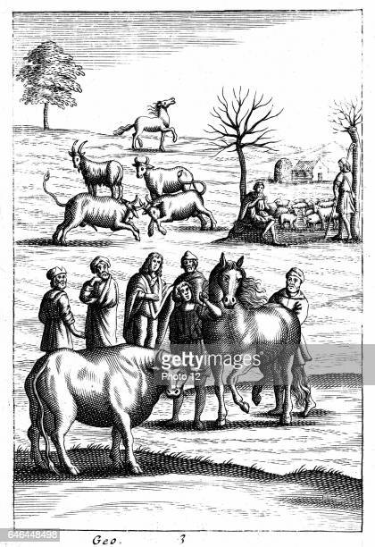 In foreground a horse and a cow are being assessed by farmers In right background a shepherd plays on pan pipes as he and his companion guard their...
