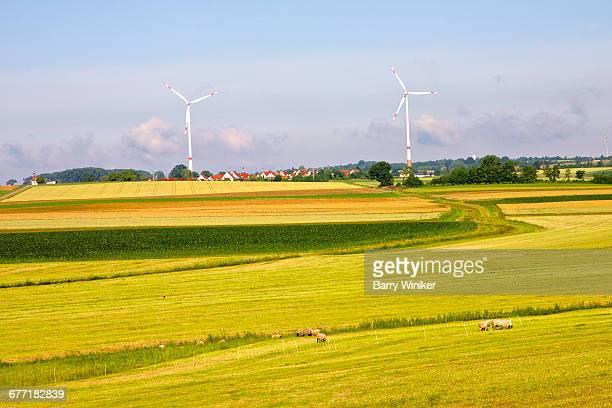 Sheep, fields and wind turbines, Bavaria, Germany