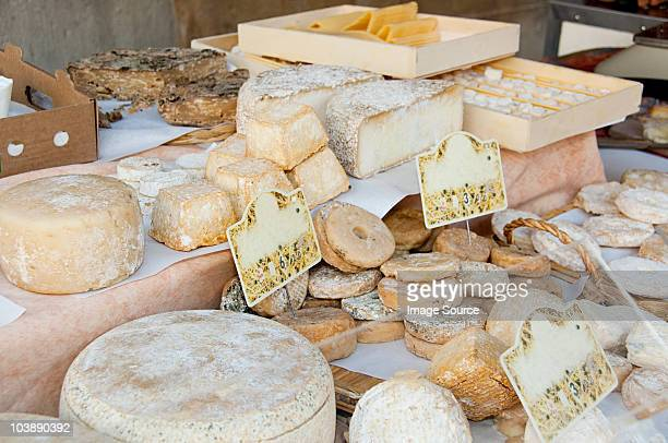 Sheeps cheese on market stall