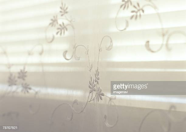 Sheer floral stitching window panel