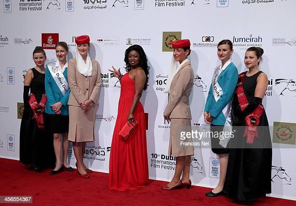 Sheer Lace Beauty Ambassador, Taylor Re'Lynn, wearing Sheer Lace Beauty's signature product line, attends Dubai International Film Festival on...
