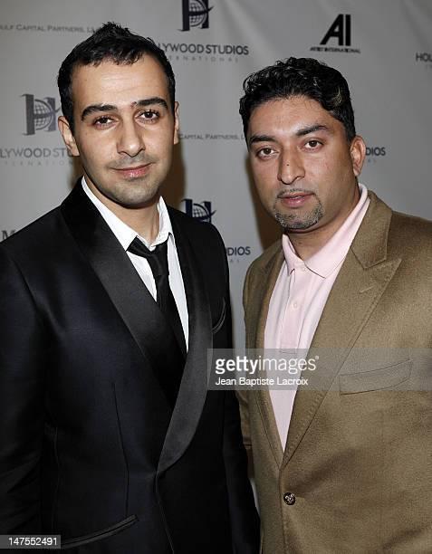 Sheeraz Hasan and Prince Faisal S Al Saud of the Saudi Arabian Royal Family celebrate his birthday at the Sky Bar at the Mondrian Hotel on July 9...