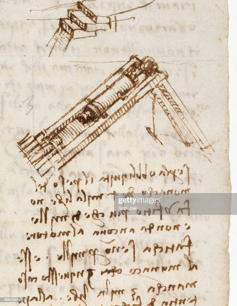Detail Showing a Pile Driver from Codex Leicester by Leonardo da Vinci : News Photo