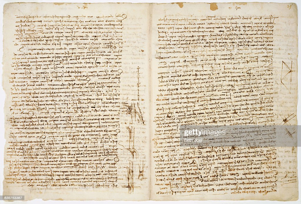 Sheet Discussing the Confluence of Rivers from Codex Leicester by Leonardo da Vinci : News Photo