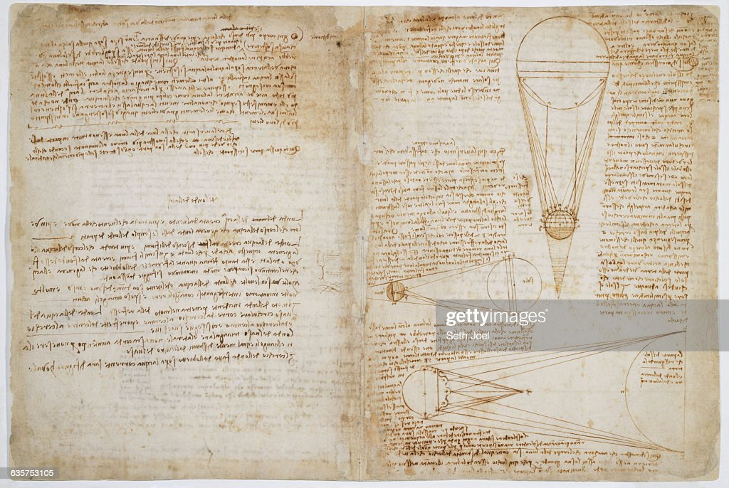 Diagram of the Light of the Sun and Moon from Codex Leicester by Leonardo da Vinci : News Photo