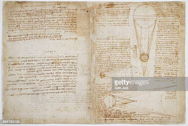 Sheet 1A of Leonardo da Vinci's Codex Leicester discussing the moon's brightness relative to that of the sun
