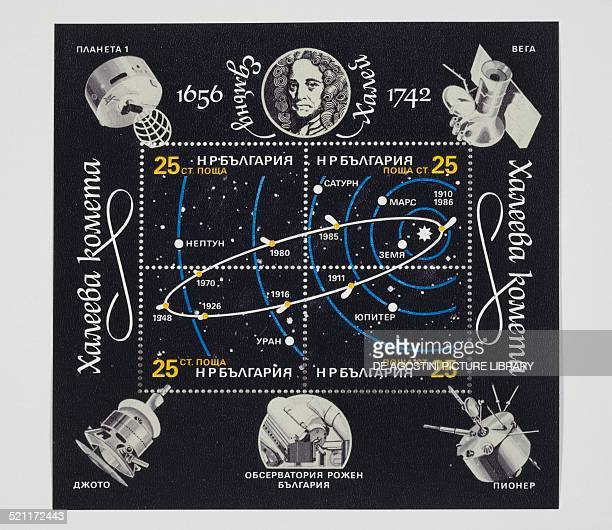 Sheet commemorating the Passage of Halley's Comet , depicting the portrait of Edmund Halley , the orbit of the comet and artificial satellites, 1986....