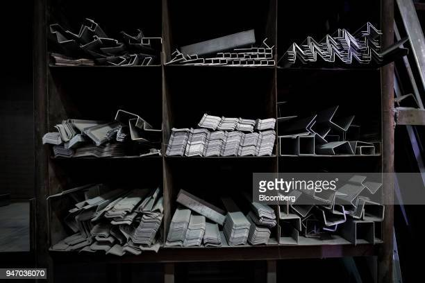Sheet metal is stacked at the Metal Manufacturing Co facility in Sacramento California US on Thursday April 12 2018 The Federal Reserve is scheduled...
