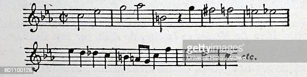 Sheet music by Johann Sebastian Bach a German composer and musician of the Baroque period Dated 18th Century
