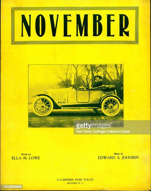 Sheet music cover for Ella H Lowe and Edward S Johnson's prosuffrage song 'November' with a photograph of Anna Howard Shaw President of the National...