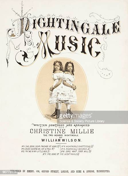 Sheet music cover for six songs �composed and arranged for Christine Millie the twoheaded Nightingale� Conjoined twins Millie and Christine McKay...