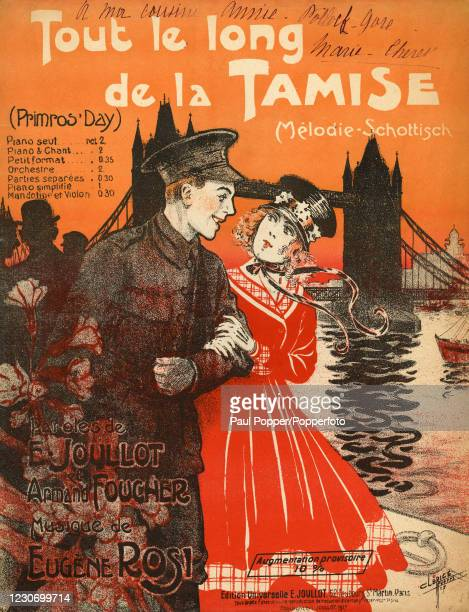 "Sheet music cover illustration by French artist Charles Clerice for ""Tout le long de la Tamise"", a Scottish melody, lyrics by Eugene Joullot and..."