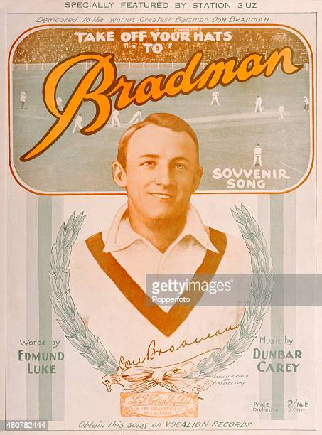 A sheet music cover illustration for the song 'Take Off Your Hats to Bradman' featuring Australia cricketer Don Bradman surrounded by a wreath of...