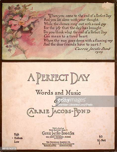 Sheet music cover image of 'A Perfect Day' by Carrie JacobsBond Chicago Illinois 1910