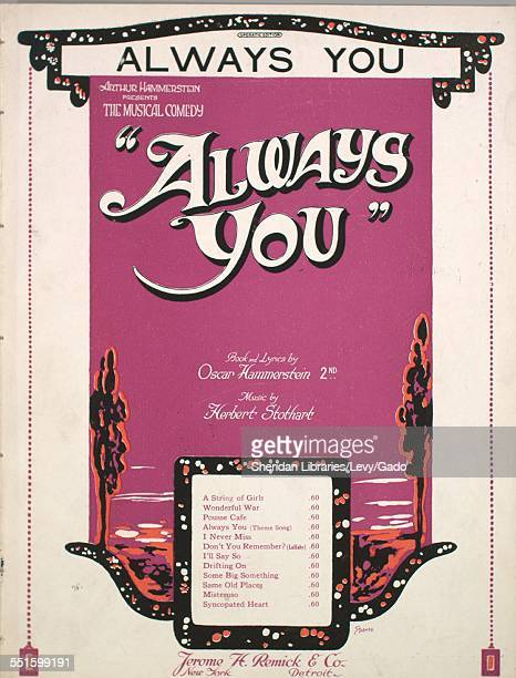 Sheet music cover image of 'Always You Operatic Edition' by Oscar Hammerstein 2nd and Herbert Stothart with lithographic or engraving notes reading...